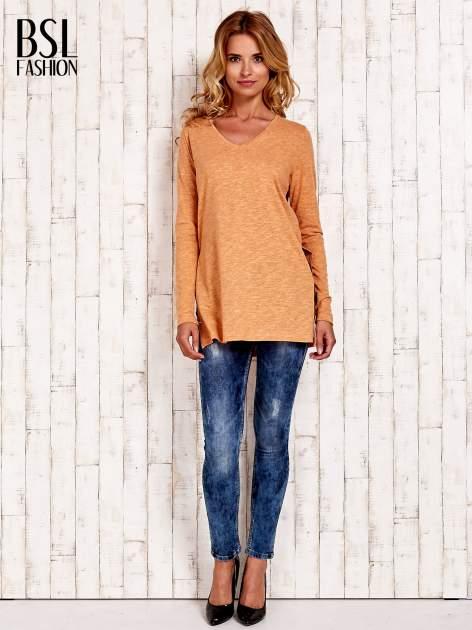 Pomarańczowa bluzka z rozporkami z boku                                  zdj.                                  5