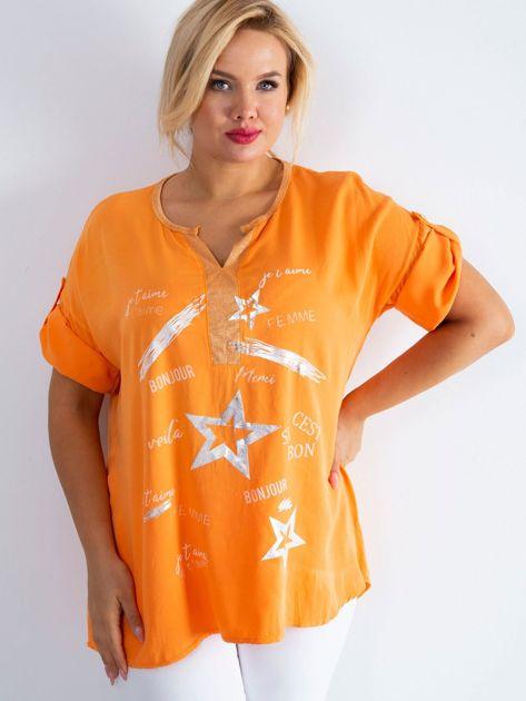 Pomarańczowa damska bluzka PLUS SIZE