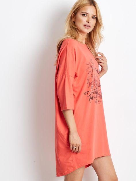 Pomarańczowa dresowa sukienka oversize                              zdj.                              1