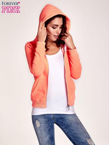 Pomarańczowa gładka bluza z kapturem                                  zdj.                                  5