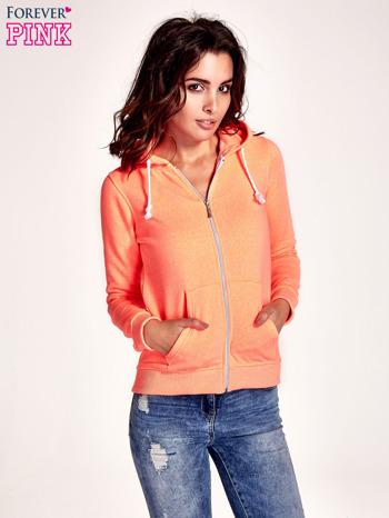 Pomarańczowa gładka bluza z kapturem