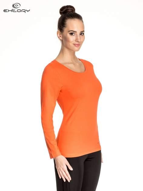 Pomarańczowa gładka bluzka sportowa z dekoltem U PLUS SIZE                                  zdj.                                  2