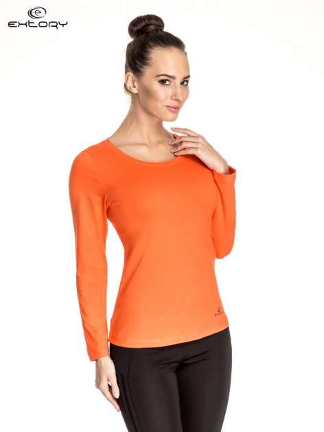 Pomarańczowa gładka bluzka sportowa z dekoltem U PLUS SIZE                                  zdj.                                  1