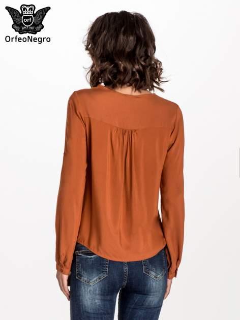 Pomarańczowa koszula ze wzorzystą wstawką w stylu etno                                  zdj.                                  2