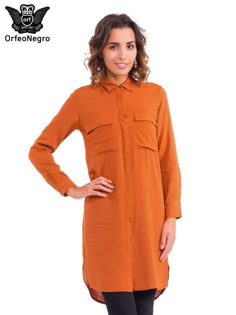 Pomarańczowa koszulotunika z kieszonkami                                  zdj.                                  1