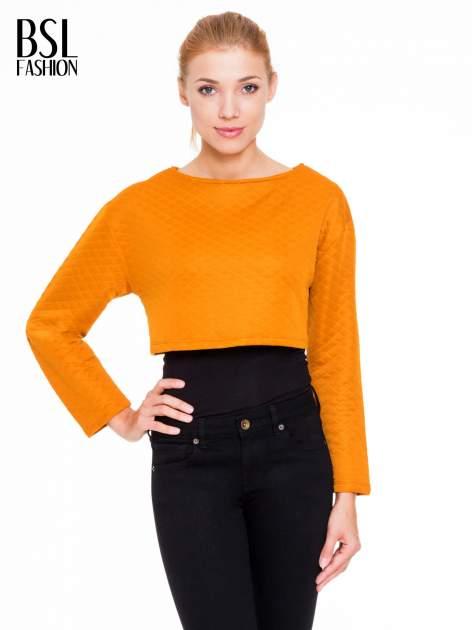 Pomarańczowa pikowana bluzka cropped                                  zdj.                                  1