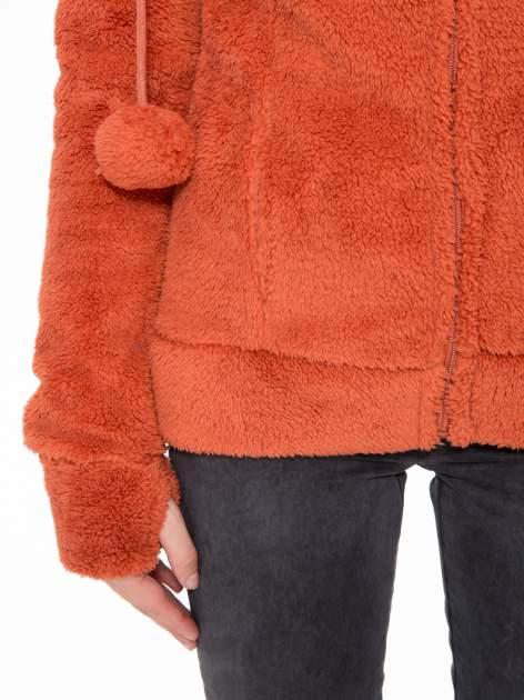 Pomarańczowa polarowa bluza miś z kapturem z uszkami i pomponami                                  zdj.                                  8