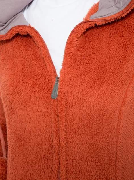 Pomarańczowa polarowa bluza miś z kapturem z uszkami i pomponami                                  zdj.                                  10