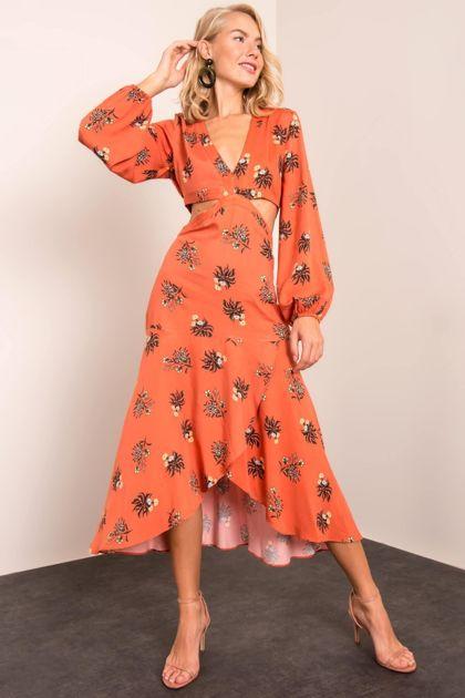 Pomarańczowa sukienka we wzory BSL