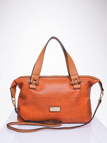 Pomarańczowa torba damska z ażurowym wykończeniem                                  zdj.                                  1