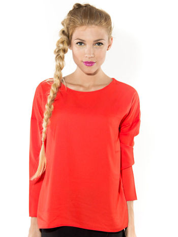 Pomarańczowa zwiewna koszula z łódkowym dekoltem