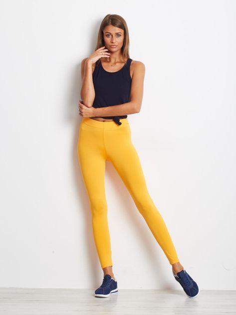 Pomarańczowe długie cienkie legginsy do biegania                              zdj.                              4