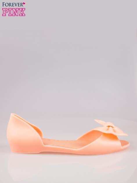 Pomarańczowe gumowe baleriny peep toe z kokardą                                  zdj.                                  1