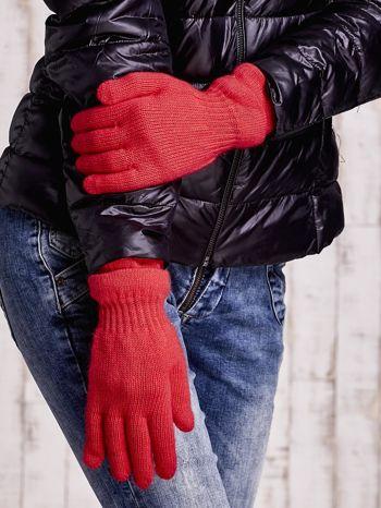 Pomarańczowe rękawiczki ze ściągaczem i podwójnym mankietem                                  zdj.                                  3