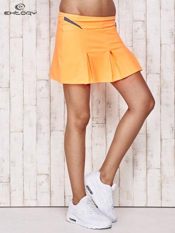 Pomarańczowe spodenki spódniczka tenisowa z szarymi wstawkami                              zdj.                              1