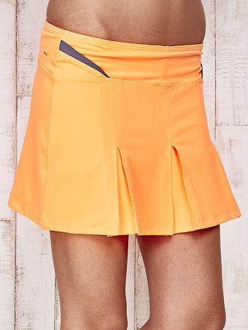 Pomarańczowe spodenki spódniczka tenisowa z szarymi wstawkami                                  zdj.                                  4