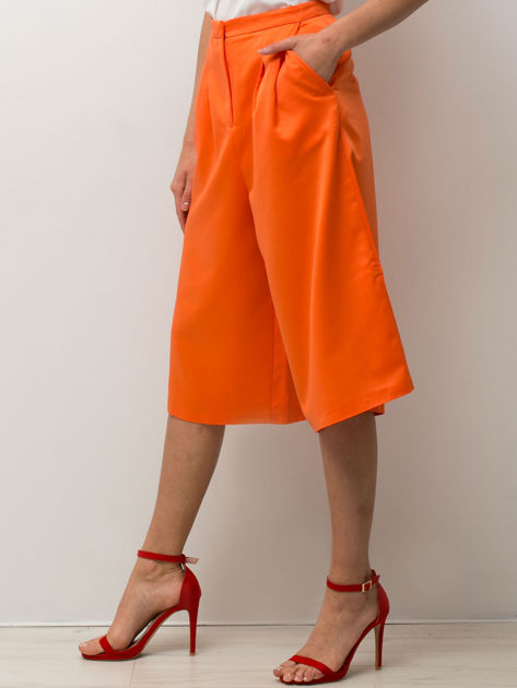 Pomarańczowe spódnicospodnie typu culottes                                  zdj.                                  5