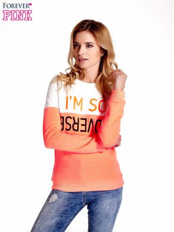 Pomarańczowo-biała bluza z napisem I'M SO ADVERSE                                  zdj.                                  1
