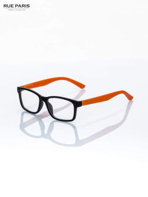 Pomarańczowo-czarne okulary zerówki kujonki typu WAYFARER NERDY matowe                                  zdj.                                  2