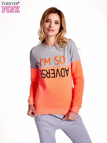 Pomarańczowo-szara bluza z napisem I'M SO ADVERSE                                  zdj.                                  1