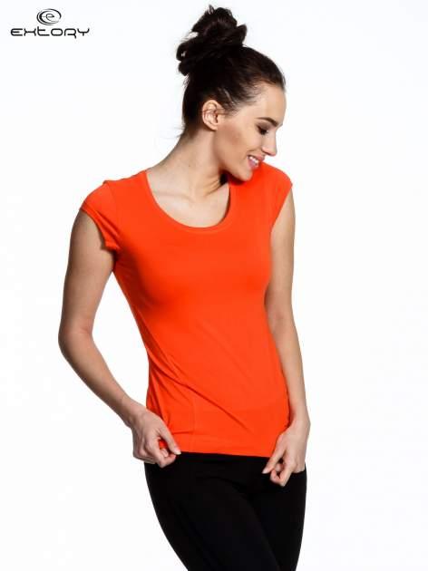Pomarańczowy damski t-shirt sportowy basic                                  zdj.                                  1