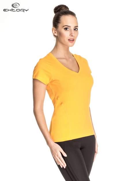 Pomarańczowy damski t-shirt sportowy z dekoltem V PLUS SIZE                                  zdj.                                  3
