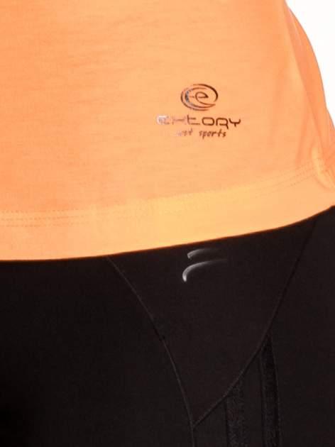 Pomarańczowy damski t-shirt sportowy z kieszonką                                  zdj.                                  5