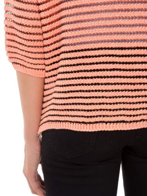 Pomarańczowy półtransparentny sweter w prążki                                  zdj.                                  8