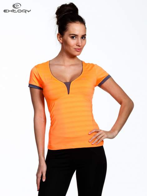 Pomarańczowy sportowy t-shirt z szarymi wykończeniami                                  zdj.                                  1