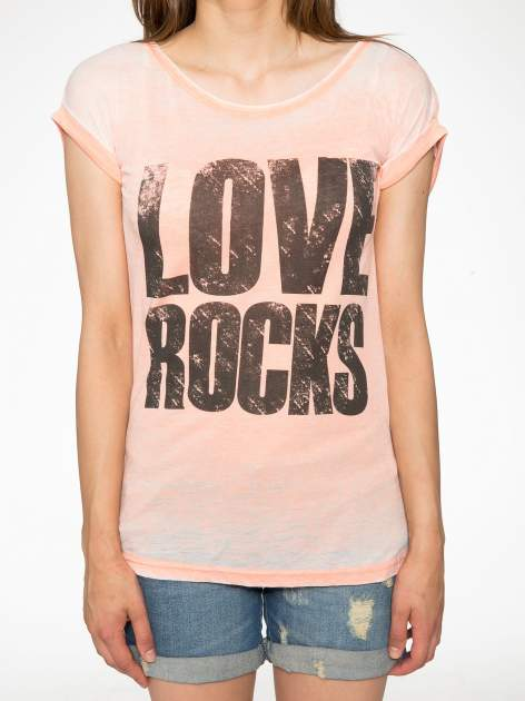 Pomarańczowy t-shirt LOVE ROCKS                                  zdj.                                  7
