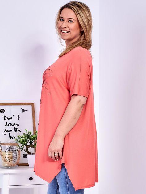 Pomarańczowy t-shirt damski w motyle PLUS SIZE                              zdj.                              5