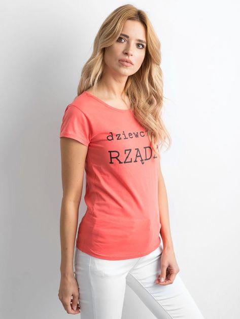 Pomarańczowy t-shirt damski z napisem                              zdj.                              1