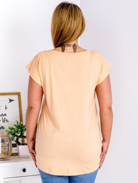 Pomarańczowy t-shirt z kwiatowym printem PLUS SIZE                                  zdj.                                  2
