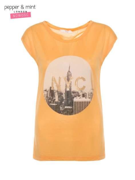 Pomarańczowy t-shirt z nadrukiem NYC zdobiony dżetami                                  zdj.                                  2