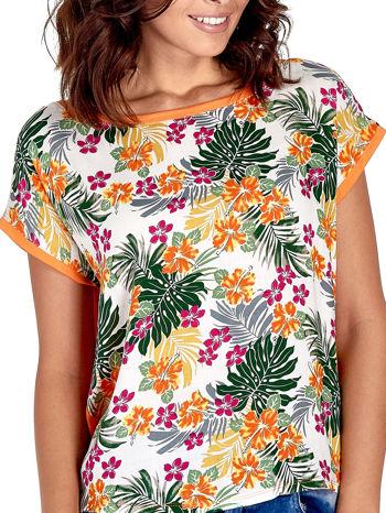 Pomarańczowy t-shirt z nadrukiem kwiatowym                                  zdj.                                  5