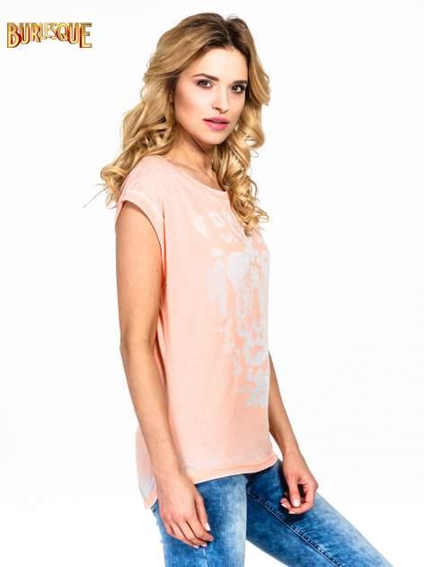 Pomarańczowy t-shirt z napisem FOREVER i nadrukiem tygrysa                                  zdj.                                  3