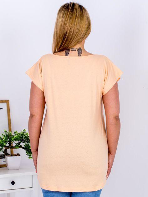 Pomarańczowy t-shirt z żonkilami PLUS SIZE                              zdj.                              2