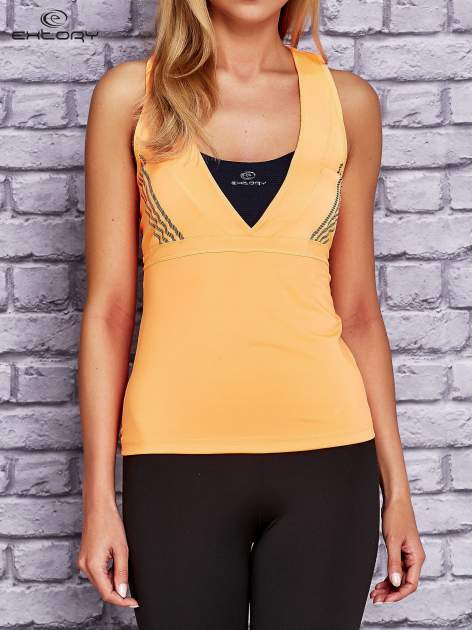 Pomarańczowy top sportowy z krzyżowanymi ramiączkami na plecach                                  zdj.                                  1