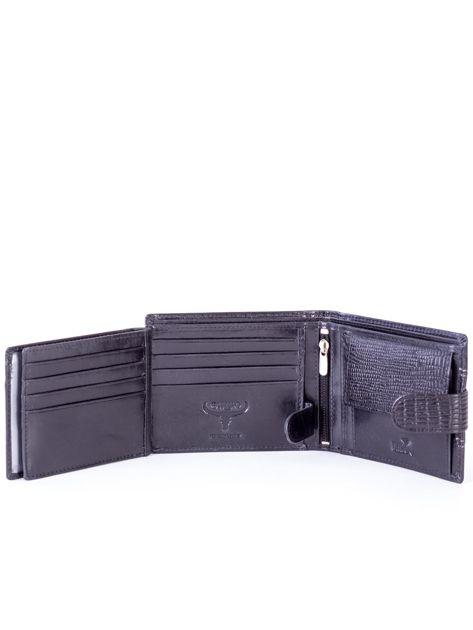 Portfel skórzany czarny z tłoczoną wstawką                              zdj.                              6
