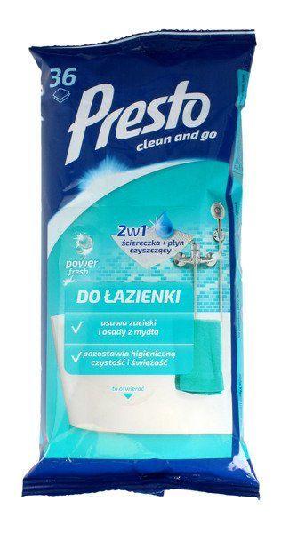 Presto Ściereczki czyszczące + płyn 2w1 do łazienki 36 szt.