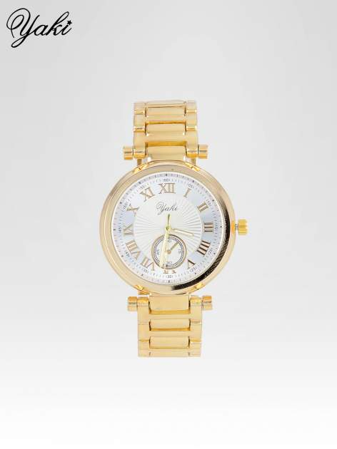Prosty złoty zegarek damski na bransolecie z białą tarczą                                  zdj.                                  1