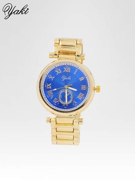 Prosty złoty zegarek damski na bransolecie z niebieską tarczą                                  zdj.                                  1