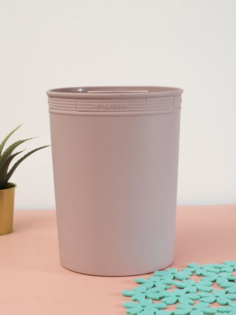 Pudroworóżowy pastelowy kosz na śmieci z holderem na worek                              zdj.                              1