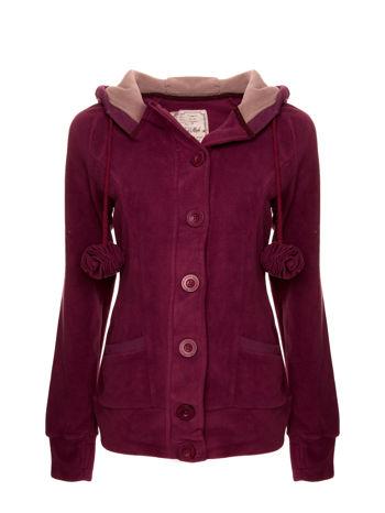 Purpurowa polarowa bluza z kapturem z uszkami                                  zdj.                                  1