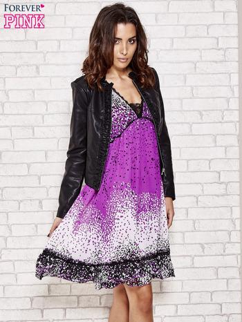 Purpurowa sukienka baby doll w ciapki                                  zdj.                                  5