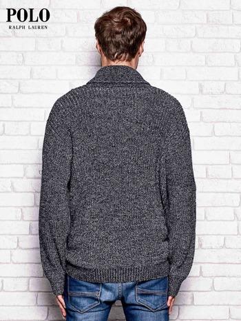RALPH LAUREN Granatowy melanżowy sweter męski na guziki                              zdj.                              2