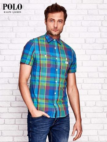 RALPH LAUREN Niebieska koszula męska w kolorową kratę                                  zdj.                                  1