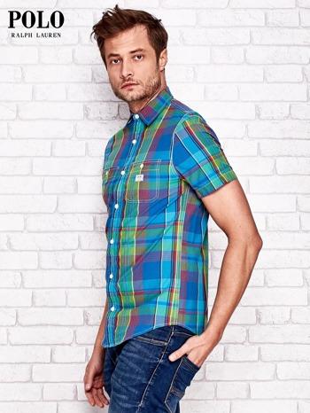 RALPH LAUREN Niebieska koszula męska w kolorową kratę                                  zdj.                                  3