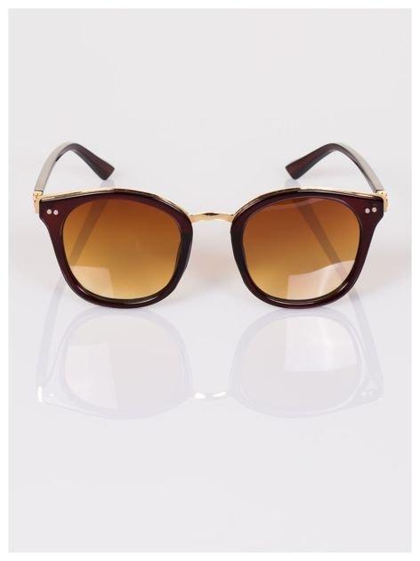 RETRO okulary przeciwsłoneczne brązowo-złote typu Wayfarer HIT !