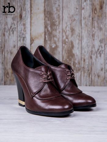 ROCCOBAROCCO Brązowe wiązane botki true leather skórzane oxfordki                                  zdj.                                  3